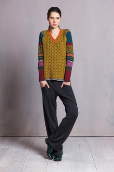 Bold colours + interesting patterns = very cool pullover / jumper