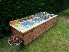 s mud kitchen. Lots of messy play days ahead of us:) Kids Outdoor Play, Outdoor Play Spaces, Backyard Play, Outdoor Playground, Backyard For Kids, Playground Ideas, Outdoor Play Kitchen, Mud Kitchen For Kids, Kitchen Ideas