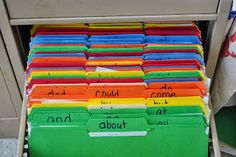 Sight Word File Folders: great idea for sight word resource organization