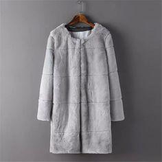 Nuevo 2016 moda primavera piel falsa de manga larga estilo largo del o-cuello de la chaqueta ocasional más tamaño Tops abrigo Super cálida