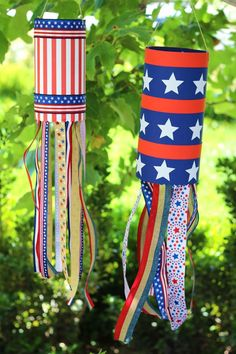 Show your pride with this patriotic wind sock, perfect for the 4th of July, Memorial Day, Veteran's Day, or any time of year.