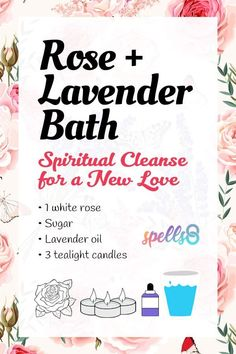 Rose+Lavender Bath for Finding a New Love: Cleansing Ritual - culbau. Spiritual Bath, Spiritual Cleansing, Spiritual Love, Wiccan Spell Book, Wiccan Spells, Jar Spells, Magick Book, Real Love Spells, Bath Recipes