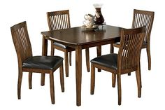 Medium Brown Stuman Dining Room Table and Chairs (Set of 5) View 2
