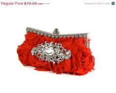 ON SALE Red Holiday Clutch, Wedding Clutch, Bridesmaids Clutch. $64.80, via Etsy.