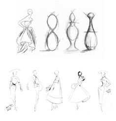 """Above: sketches illustrating the hourglass silhouette's significance to the number """"8"""" and how it translated to the J'Adore fragrance. Below: sketches by Mr. Dior."""
