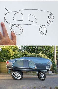 Dad photoshop kid's drawings: auto