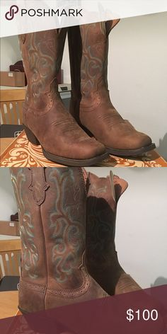 Justin Women's Sorrel Apache Western Boot.  9.5 NWT, no scuffs or marks.  These are too big for me and I waited too long to return them.  I bought a smaller size because they're so cute and I love them! They're comfortable and go with skirts or jeans! You won't be disappointed! Justin Boots Shoes Heeled Boots