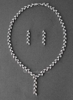 Wedding Day CZ Vine Necklace Set