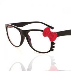 Super Süße Hello Kitty Bogen Schwarz Brille Brille NUR RAHMEN without Lens (Schwarz+Rot Bogen): Amazon.de: Sport & Freizeit