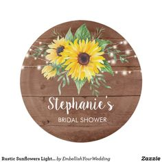 Rustic Sunflowers Lights Wood Bridal Shower Paper Plate Paper Napkins, Paper Plates, Bridal Shower Rustic, Cake Servings, Party Tableware, Sunflowers, Biodegradable Products, Decorative Plates, Custom Design