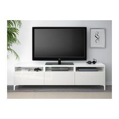 BESTÅ TV bench with drawers - white/Selsviken high-gloss/white, drawer runner, soft-closing - IKEA Bench With Drawers, Large Drawers, Ikea Family, Family Room, Besta Tv Bank, Tv Bench, Drawer Runners, Tv Stands, Entertainment Center