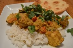 Easy make at home version of a delicious spicy, creamy Indian chicken dish. Indian Chicken Dishes, Ground Almonds, Coriander Seeds, Red Chili, Curry Powder, Garam Masala, Naan, Cilantro, Spicy