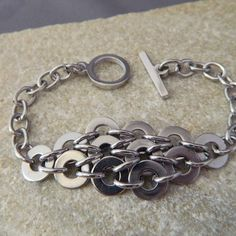 Stainless Steel Washer Bracelet by WireNWhimsy on Etsy, $40.00