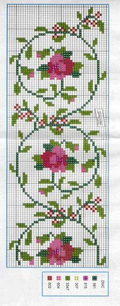 Roses and vine cross stitch pattern Cross Stitch Love, Cross Stitch Bookmarks, Cross Stitch Borders, Cross Stitch Flowers, Cross Stitch Charts, Cross Stitch Designs, Cross Stitching, Cross Stitch Embroidery, Embroidery Patterns