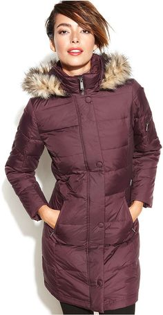 DKNY Hooded Faux-Fur-Trim Quilted Long-Length Down Coat on shopstyle.com