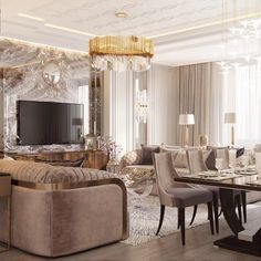 Interior design for a living room combined with kitchen. It is a nice modern lux interior design Luxury Dining Room, Dining Room Design, Classic Interior, Luxury Interior, Interior Design Living Room, Living Room Decor, Neoclassical Interior, Home Decor Furniture, House Design