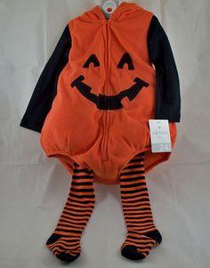 Carters Pumpkin 3 PC Costume 24 Months Hooded Plush Bubble Fleece Jack O Lantern | eBay