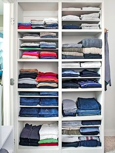 Mix Up Shelves Different heights of shelves offer more flexibility in a master bedroom closet. If you don't want to fuss with built-in shelves, try dividers that slip into larger spaces -- used here to keep track of thinner T-shirts and other items.