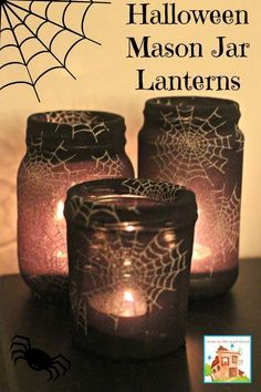 Halloween Crafts - Mason Jar or Jam jar Lanterns.  This fab kids activity only takes two materials