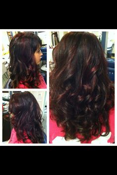 Red highlights on dark hair-hair by heather Timberlake