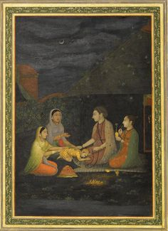 Two women and a small child visiting a yogi and yogini at night, Provincial Mughal, India, late 18th century.