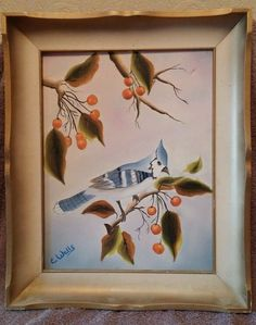 """Canvas Oil Painting Bluebird by E Wells Framed 14 1/2"""" x 17 1/2"""" in Art, Art from Dealers & Resellers, Paintings 