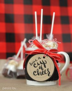 Hot chocolate is  a holiday must-have! These cute homemade hot-chocolate-on-a-stick treats look adorable in a DIY Hot Chocolate mug with free printables.
