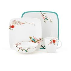 Lenox Chirp Square 4 Piece Place Setting   from hayneedle.com
