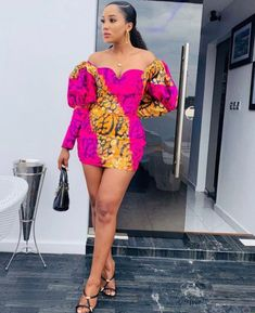 Short And Long Raglan Sleeve On Micro Gown Ankara Short Gown Styles, Short Gowns, Ankara Gowns, Ankara Dress, Ankara Jumpsuit, Latest Ankara Styles, Ankara Fabric, African Shirts For Men, African Jumpsuit