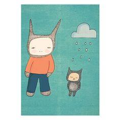 Image of Boys Art - Mr Rabbit and Fred - Art Print (15x19 h cm)