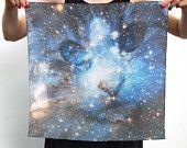Cat Space Galaxy Nebula Print Silk Square Scarf