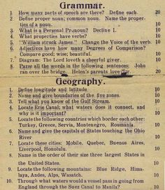 STRANGE EDUCATION ITEMS - 1912 TEST FOR 8TH GRADE - GRAMMAR & GEOGRAPHY - HOW WOULD YOU DO?