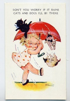 Agnes richardson cute girl , umbrella & lots of cats old postcard Vintage Pictures, Vintage Images, Baby Illustration, Lots Of Cats, Raining Cats And Dogs, Vintage Greeting Cards, Vintage Postcards, Vintage Ephemera, Vintage Children