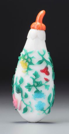 A SIX-COLOUR OVERLAY GLASS 'EGGPLANT' SNUFF BOTTLE<br>YUZHI SEAL MARK AND PERIOD OF QIANLONG | lot | Sotheby's