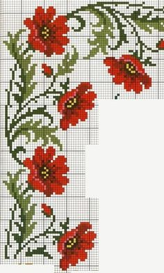 Pin by Malu Jaramillo on punto de cruz Cross Stitch Rose, Cross Stitch Borders, Cross Stitch Flowers, Cross Stitch Designs, Cross Stitching, Cross Stitch Embroidery, Embroidery Patterns, Hand Embroidery, Cross Stitch Patterns