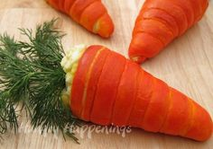 CRESCENT CARROTS made with crescent rolls and filled with egg salad. Easter brunch idea.