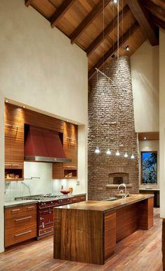 kitchen pizza oven idea - beautiful wood cabin inspired kitchen