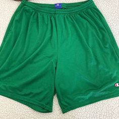CHAMPION Gym Shorts Green Mesh Practice Workout Exercise Sportswear Sports Men's #Champion #Shorts