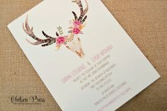 Tribal Watercolor PRINTED Wedding Invitation by ChelseaPress on Etsy