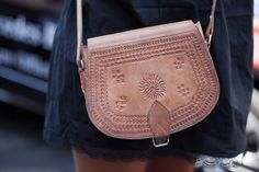 Moroccan etched leather bag. Gorgeous.
