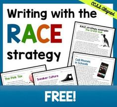 Writing with the RACE Strategy FREE Help students learn how to answer text-based short response questions using the RACE strategy--awesome for test-prep! Races Writing Strategy, Race Writing, Writing Strategies, Teaching Writing, Writing Activities, Writing Ideas, Teaching Ideas, Writing Rubrics, Informational Writing