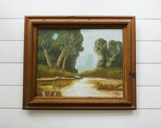 Vintage Framed Painting of a Pond Scene   Summer Painting on Canvas   Modern Farmhouse Decor Rustic Style, Minimalist Throws, Modern, Vintage Wall Decor, Modern Farmhouse, Vintage Frames, Frame, Painting Frames, Modern Farmhouse Decor
