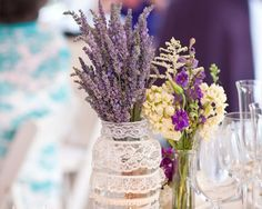 wedding venue decorations outdoor wedding table decorations wedding altar ideas turquoise and silver wedding mason jar centerpieces for . Rustic Purple Wedding, Rustic Wedding Reception, Spring Wedding Colors, Lilac Wedding, Yellow Wedding, Wedding Tables, Lavender Centerpieces, Wedding Centerpieces Mason Jars, Wedding Decorations