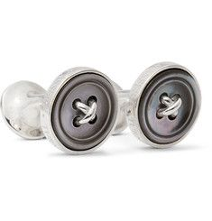 Turnbull & Asser Sterling Silver Mother-of-Pearl Cufflinks