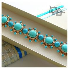 "Colection ""Pharaos treasure"" Bracelet--closeup - armbånd i turkiser"