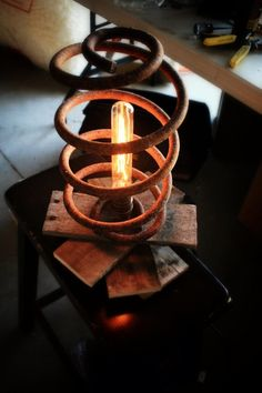 Just Custom Lighting - Listings View One Of A Kind Table Lamp Made From Reclaimed Wood And Antique Industrial Spring.   #handmadelighting #lighting #custom #lamps #homedecor