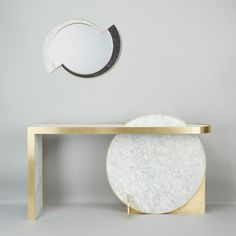 The Collision Console in carrara marble & brushed brass & Half Moon Mirror in nero marquina, carrara marble & brushed brass by Lara Bohinc for Lapicida is part of the ongoing Lunar Collection, & respectively, Lapicida Metal Furniture, Table Furniture, Modern Furniture, Furniture Design, Console Cabinet, Modern Console Tables, Messing, Contemporary Design, House Design