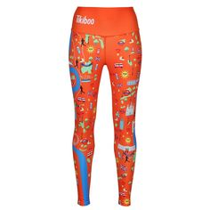Celebrate London's Landmarks With Tikiboo's Run London Orange Leggings Designed In Conjunction With The London Marathon Training & Support Group. Shop The Rest Of The Collection Online Today! Running London, Compression Vest, Mens Measurements, Orange Leggings, London Marathon, London Landmarks, River Thames, Marathon Training, Small Waist