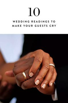 10 Non-Cheesy, Non-Religious Wedding Readings to Make Everyone at Your Ceremony Cry via @PureWow