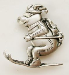 Vintage JJ Signed SKIING PIG Winter Sports Pin Brooch Silver Pewter Whimsical